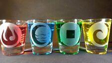 Avatar shot glass set fire water earth air bender last legend of kora anime gift