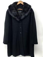 NEW Women's Siena Studio Wool Blend 2X Black Fur Trimmed Jacket (EC-16)
