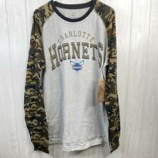 NBA Mens XXL Charlotte Hornets Long Sleeve Shirt Graphic Camouflaged Sleeves