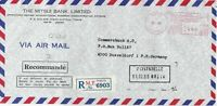 Japan 1980 The Mitsui Bank Ltd Regd Airmail Meter Mail Stamp Cover Ref 29965