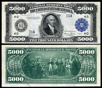 Reproduction US $5000 Bill, Series 1918 Large size /  BIG Beautiful BLUE seal