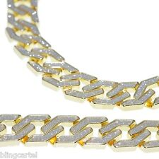 "Sand Blast Cuban Chain Gold Tone Heavy 20MM Wide Men 30"" Chunky Hip Hop Necklace"