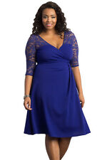 NEW Blue Floral Lace Sleeve Skater Plus Size Dress Party Work 18 20 UK