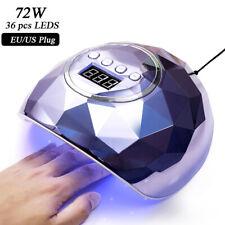 72W Nail UV Lamp Gel Polish Dryer Machine Nail Tools 15s Quick Dry Pink Blue