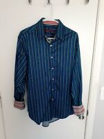 Robert Graham X Men's Stripe L/S Shirt flip cuff Sz Large Button Down Collar EUC