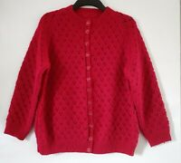 Womens Hand Knitted UK Size 10 12 Petite Red Cardigan Vintage Style Handmade