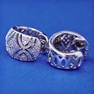 """0.5"""", Vintage Sterling silver earrings, 925 hoops, huggie with diamond"""