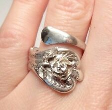 VINTAGE UNIQUE ROSE FLOWER TOWLE SPOON RING STERLING SILVER 925 SIZE 7.5 ADJUST