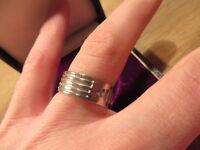 Super 925 Sterling Silber Ring Designer Breit Muster Streifen Unisex Linien Top
