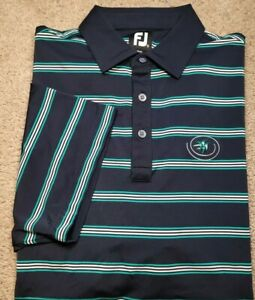 New! FOOTJOY-Navy/Green Stripe Poly/Spdx, Mens SS, Logo Summer Golf Shirt-(XL)