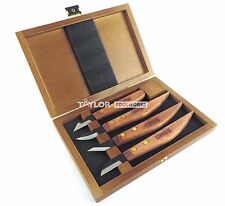 Narex 4 Piece Wood Carving Knife Set Curved, Necking, Skew & Straight Box 869100