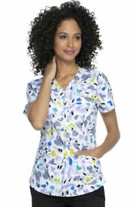 "Elle Scrubs #763 V-Neck Print Scrub Top in ""Brush Of Color"", Size XS"