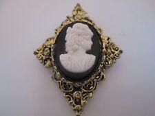 Vintage Black White Resin Cameo Filigree Gold Tone Pin Brooch