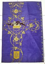 Antique French Lamb of God Vestment Chasuble Purple Embroidered Panel