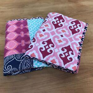 Set 2 Pottery Barn Boho Teen Patchwork Euro Pillow Shams Pink Blue Teal Paisley