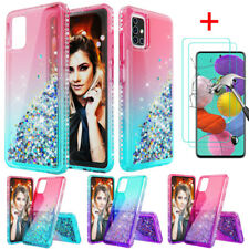 For Samsung Galaxy A20S A51 A71 4G Case Glitter Bling Cover HD Screen Protector