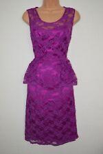 Kaleidoscope Magenta Purple Lace Peplum Party Dress Size 12 NEW