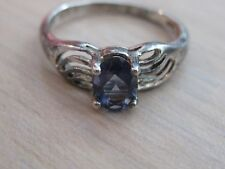 Estate Sterling Silver Iolite Ring Size 8 Weighs 2.4 Grams