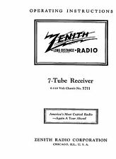 Operators Manual Zenith  5711 7 Tube Radio 6 & 110 Volt