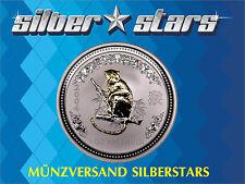 1 OZ 999 Silber Lunar I 2004 - Jahr der Affe Silver Monkey  gilded