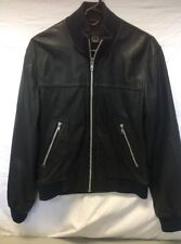 MARC JACOBS Soft Black Leather Bomber Jacket Banded Cuffs/Collar Sz S
