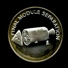 APOLLO 13 SPACE FLOWN TO THE MOON MATERIAL LARGE SILVER COIN - Final Module Sep