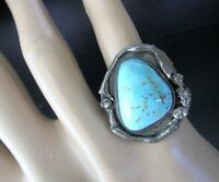 Native American Genuine Turquoise Sterling Silver Vintage Ring Size 6