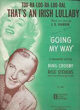 BING CROSBY RISE STEVENS 1944 Sheet Music TOO-RA-LOO-RA-LOO-RAL AN IRISH LULLABY