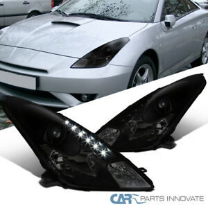 For 00-05 Toyota Celica Black Smoke LED Strip Projector Headlights Head Lamps