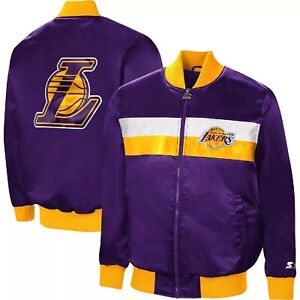 Los Angeles Lakers Starter Purple The Ambassador Satin Full-Zip Jacket