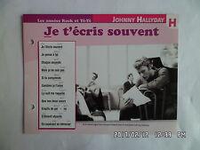 CARTE FICHE PLAISIR DE CHANTER JOHNNY HALLYDAY JE T'ECRIS SOUVENT