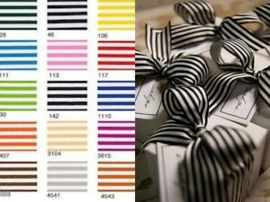 Berisfords Pencil Stripe Ribbon Double Satin 15 Shades Widths 9mm 16mm 25mm