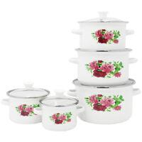 10 Pc Enamel Cookware Set Casserole Pots Lid Soup Stockpot Red Flowers Pan White
