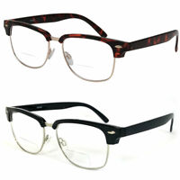 Browline Horned Rim  Bifocal Reading Glasses Clear Lens From +1.00 to +3.00