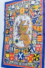 Vintage Scotland's Clans Fabric Towel Wood Wall Hanging Map Retro Scottish Linen