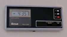 Vintage 1980's Comus TC-107 Mini Travel Size LCD Desk Alarm Clock +Case & Manual