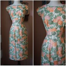 Vintage 50s Peach Floral roses cotton wiggle sheath dress Pinup Retro XS S