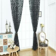 Rideaux Voilages de Fenêtre à Fleur Store Décoration pour Chambre Salon Noir