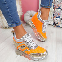 WOMENS LADIES HIDDEN WEDGE GLITTER SPARKLE TRAINERS SNEAKERS WOMEN PARTY SHOES