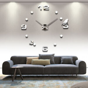 3D Acrylic Mirror Wall Clock Watch Clocks Home Decoration Modern Needle Quartz