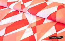 Baumwoll Voilé, Chiffon, Rot, Weiß, Orange, Dreiecke, Stoffe Meterware