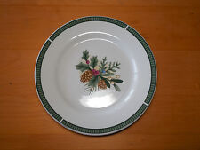 "Fairfield China WINTERGREEN Set of 7 Salad Plates 8"" Green Pinecones"