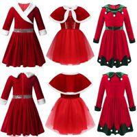 Christmas Children Girls Dress Outfit Shiny Princess Party Santa Xmas Costumes