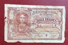 Belgique -  Rare billet de 2 Francs du 2-4-1915  Société Générale