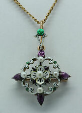 A Suffragette Enamel & Pearl Brooch Pendant In The Style Of Carlo Giuliano 1900s