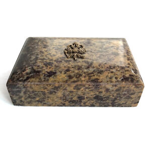 Vintage Stone Jewelry Table Box with Russian Brass Imperial Eagle Crest, 20th C.
