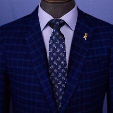 Navy Blue & White Italian Paisley Designer Tie 8cm Necktie Florentine Accessory