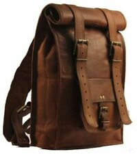 Roll Top Backpack Rucksack Rolling Bag travel Bikers Bag in genuine leather