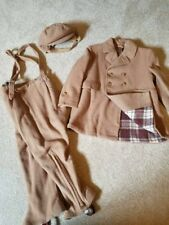 Vintage 1950's Boys Tan Wool Snowpants, Hat And Jacket A Christmas Story winter