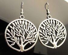 Large Antique Silver Tree of Life Boho Drop Earrings Pagan Handmade Jewellery